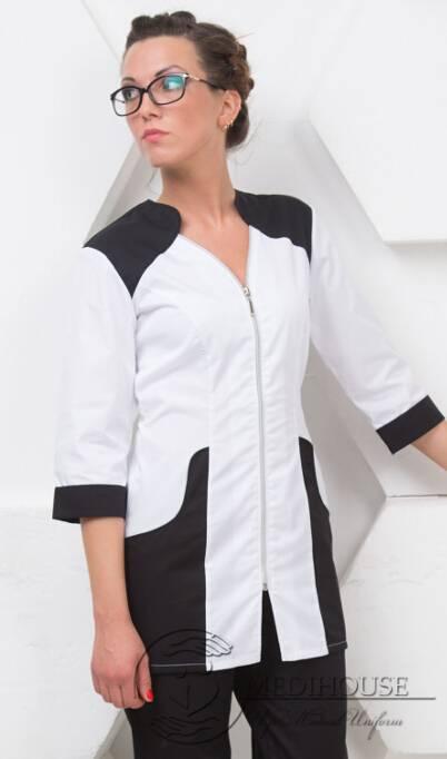 Женский медицинский блузон мод. 1.5 B&W