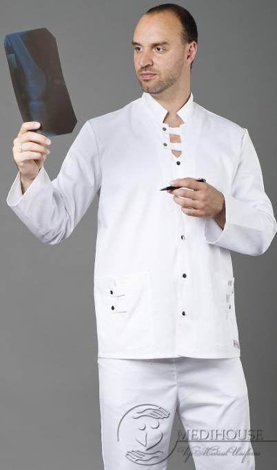 Мужская медицинская куртка мод. 7 White