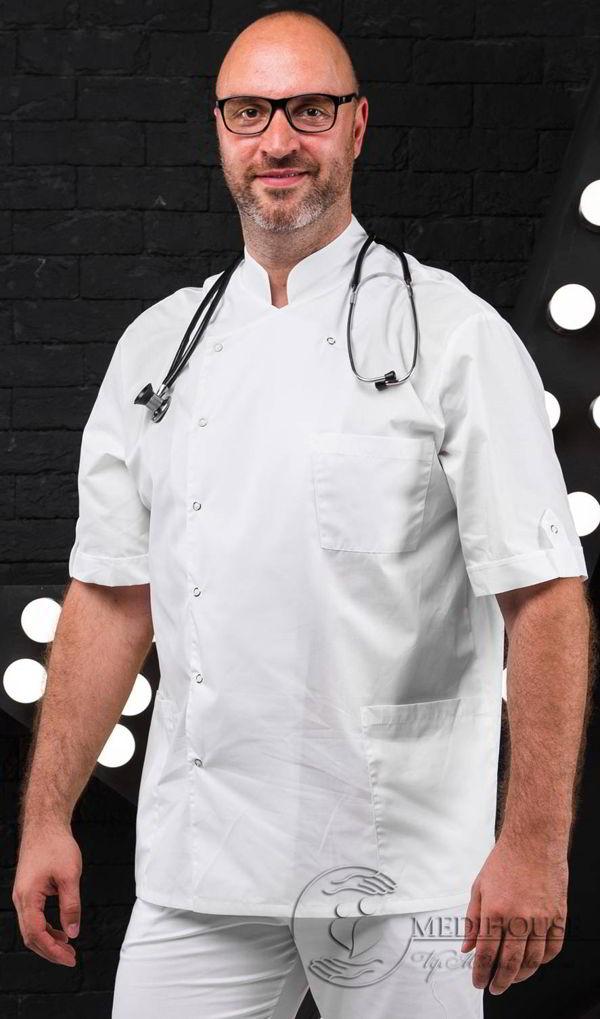 Мужская медицинская куртка мод. 7.3 White