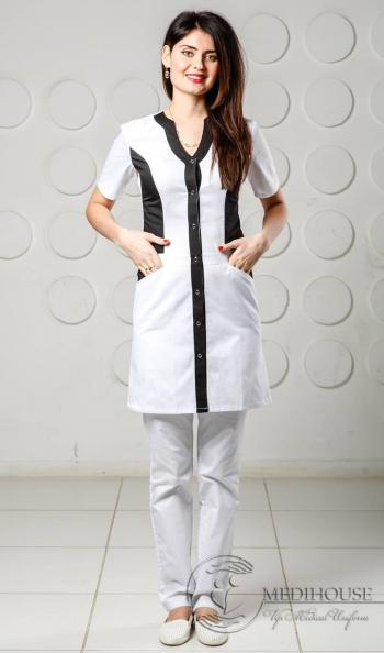 Женский медицинский халат мод. 1.4.1 B&W
